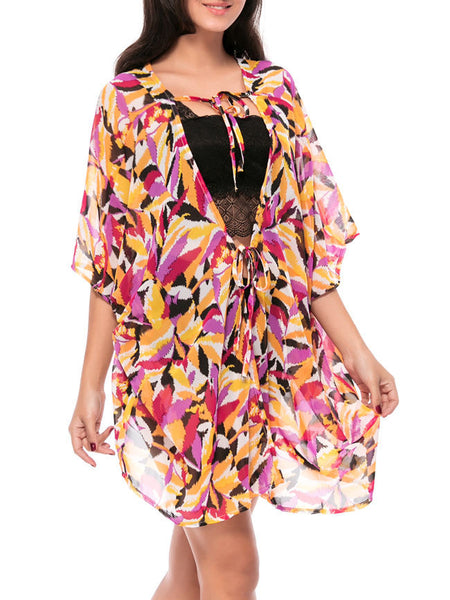 Streetstyle  Casual Asymmetric Hem Hollow Out Printed Kimono