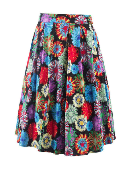Colorful Printed Flared Midi Skirt - Bychicstyle.com