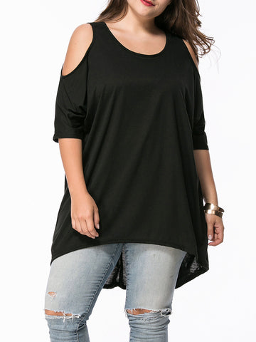 Open Shoulder High-Low Plain Plus Size T-Shirt - Bychicstyle.com
