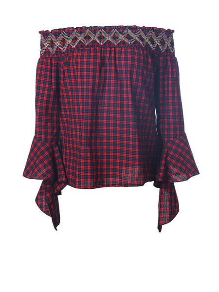 Loose Off Shoulder Plaid Bell Sleeve Blouse - Bychicstyle.com
