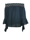 ByChicStyle Loose Off Shoulder Plaid Bell Sleeve Blouse - Bychicstyle.com