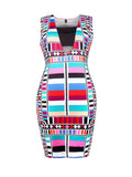 ByChicStyle Square Neck Cutout Colorful Printed Bodycon Dress - Bychicstyle.com