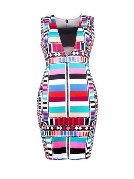 Square Neck Cutout Colorful Printed Bodycon Dress - Bychicstyle.com