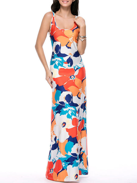 Strappy Scoop Neck Color Block Floral Maxi Dress - Bychicstyle.com