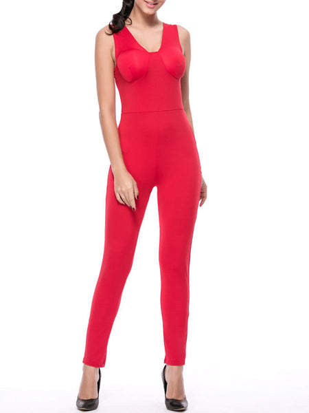 Casual Designed Solid V-Neck Slim-Leg Jumpsuit