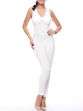 ByChicStyle Casual Designed Solid V-Neck Slim-Leg Jumpsuit