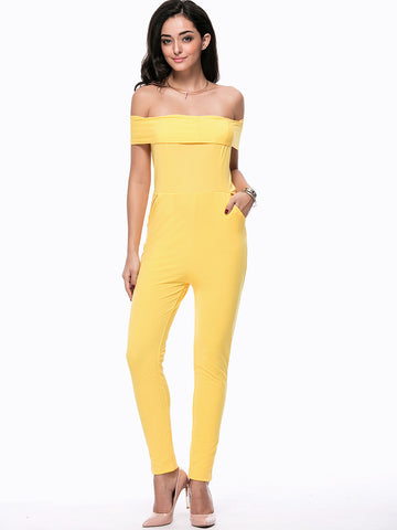 Off Shoulder Bowknot Back Hole Pocket Plain Slim-Leg Jumpsuit - Bychicstyle.com