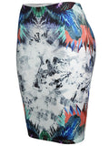 ByChicStyle Fitted Slit Pencil Midi Skirt In Abstract Print - Bychicstyle.com