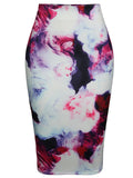 ByChicStyle Casual Abstract Print Pencil High-Waist Midi Skirt