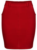 ByChicStyle Slit Pocket Belt Loops Plain Pencil Midi Skirt - Bychicstyle.com