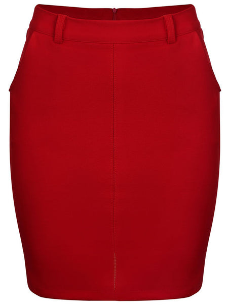 Slit Pocket Belt Loops Plain Pencil Midi Skirt - Bychicstyle.com