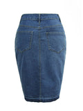 ByChicStyle Slit Denim Pencil Midi Skirt - Bychicstyle.com