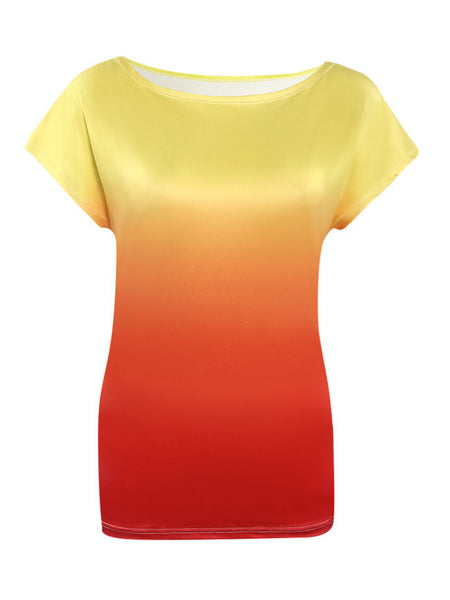 Colorful Gradient Short Sleeve T-Shirt - Bychicstyle.com