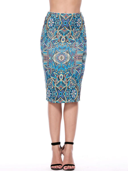 Tribal Printed Pencil Midi Skirt - Bychicstyle.com