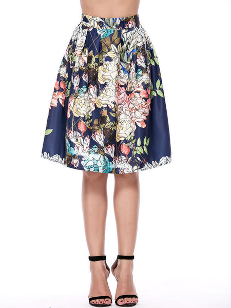 Fabulous Floral Printed Flared Midi Skirt - Bychicstyle.com