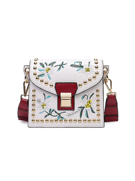 Colorful Ribbon Embroidery Crossbody Bag - Bychicstyle.com