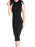 ByChicStyle High Neck Decorative Button Solid Midi Bodycon Dress In Black - Bychicstyle.com