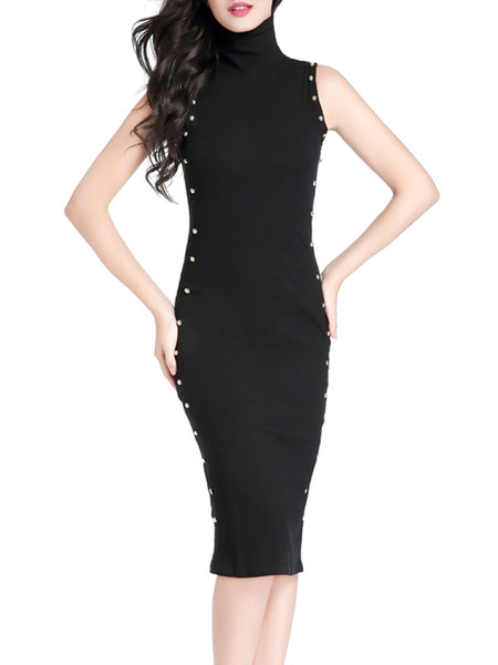 High Neck Decorative Button Solid Midi Bodycon Dress In Black - Bychicstyle.com