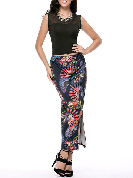 Round Neck Hollow Out Crop Top And Printed Slit Pencil Maxi Skirt - Bychicstyle.com