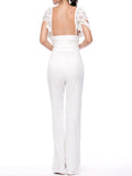 ByChicStyle Casual Designed Deep V-Neck Decorative Lace Solid Straight Jumpsuit