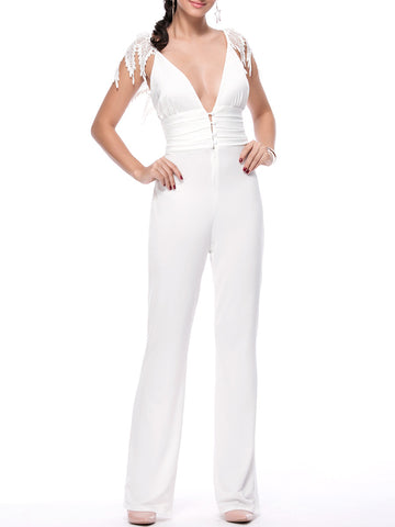 Casual Designed Deep V-Neck Decorative Lace Solid Straight Jumpsuit