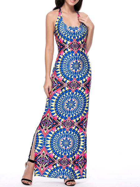 Scoop Neck Side Slit Printed Maxi Dress - Bychicstyle.com