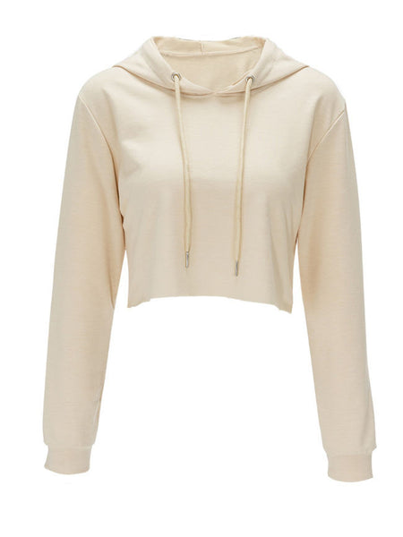 Exposed Navel Drawstring Solid Hoodie - Bychicstyle.com