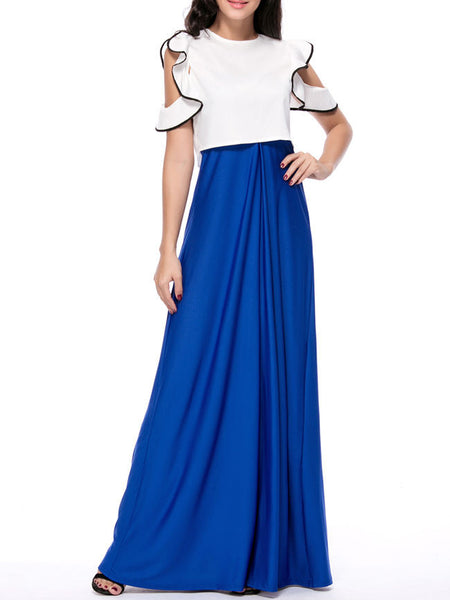 Contrast Trim Flounce Top And Solid Flared Maxi Dress - Bychicstyle.com