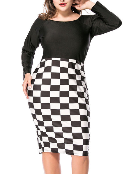 Courtly Round Neck Plaid Plus Size Bodycon Dress - Bychicstyle.com