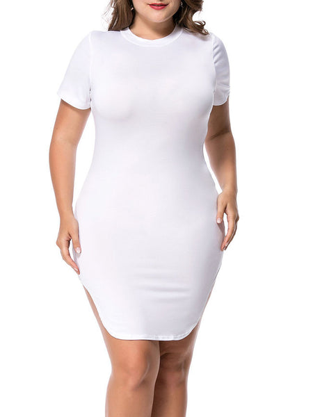 Crew Neck Curved Hem Solid Plus Size Bodycon Dress - Bychicstyle.com
