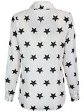 ByChicStyle Casual Allover Star Printed Long Sleeve Patch Pocket Blouse