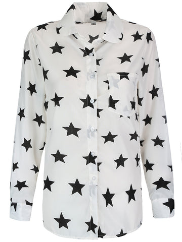 Casual Allover Star Printed Long Sleeve Patch Pocket Blouse