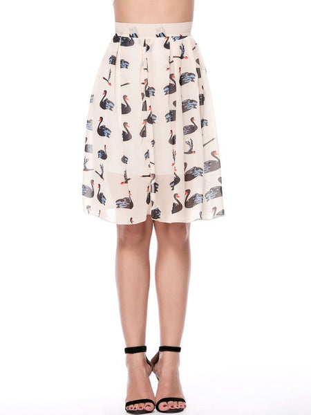 Captivating Printed Flared Midi Skirt - Bychicstyle.com