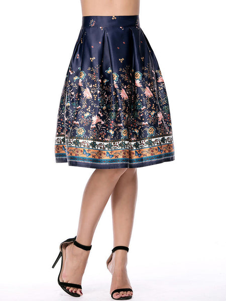 Exquisite Inverted Pleat Printed Elastic Waist Flared Midi Skirt - Bychicstyle.com