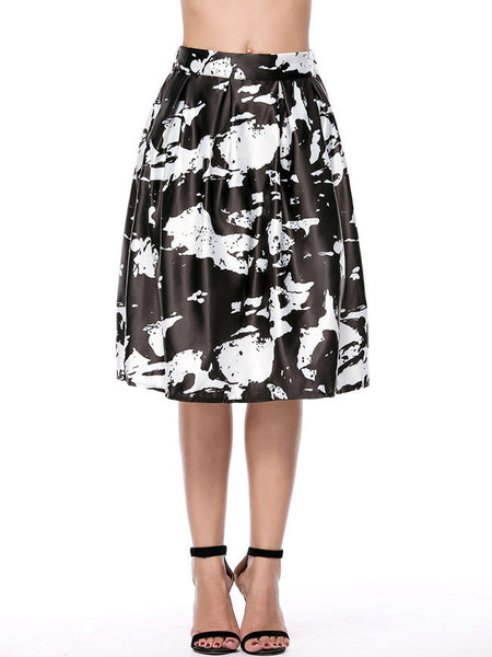 Casual Elastic Waist Flared Midi Skirt In Abstract Print