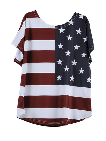 US Flag Printed Round Neck Plus Size T-Shirt - Bychicstyle.com
