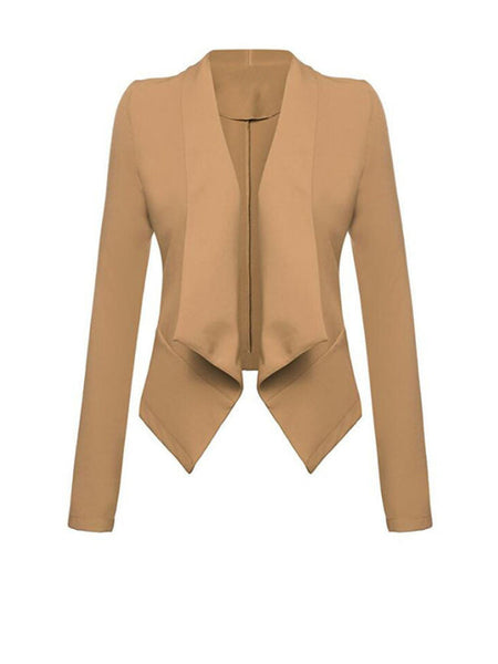 Chic Lapel Plain Long Sleeve Blazer - Bychicstyle.com