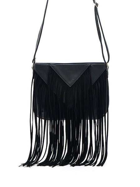 Long Fringe Boho Crossbody Bag - Bychicstyle.com