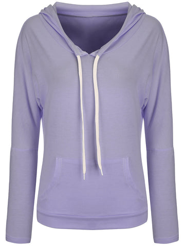 Casual Basic Drawstring Kangaroo Pocket Plain Hoodie