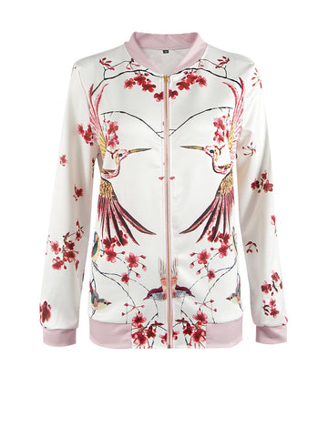 Casual Designed Band Collar Bird Floral Printed Jacket