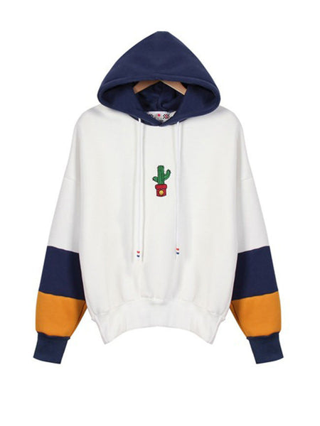 Loose Color Block Cactus Embroidery Hoodie - Bychicstyle.com