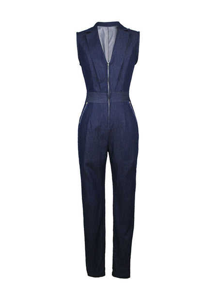 Lapel Deep V-Neck Zips Slim-Leg Denim Jumpsuit - Bychicstyle.com