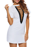 ByChicStyle Casual Band Collar Cutout Lace-Up Plus Size Bodycon Dress