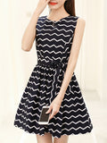 ByChicStyle Casual Zigzag Striped Round Neck Bowknot Skater Dress
