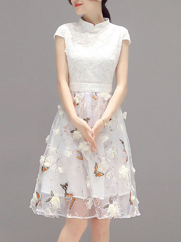 Fancy Band Collar Floral Hollow Out Skater Dress - Bychicstyle.com