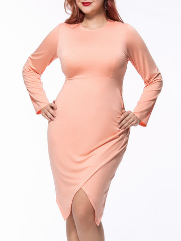 Casual Asymmetric Hem Round Neck Solid Plus Size Bodycon Dress