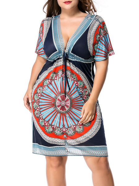 Casual Deep V-Neck Drawstring Plus Size Shift Dress In Tribal Printed