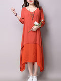 ByChicStyle Loose V-Neck Asymmetric Hem Maxi Dress - Bychicstyle.com