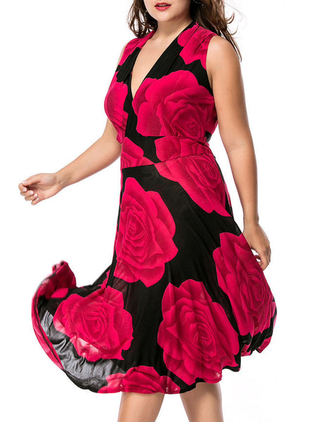 Deep V-Neck Color Block Floral Swing Plus Size Maxi Dress - Bychicstyle.com