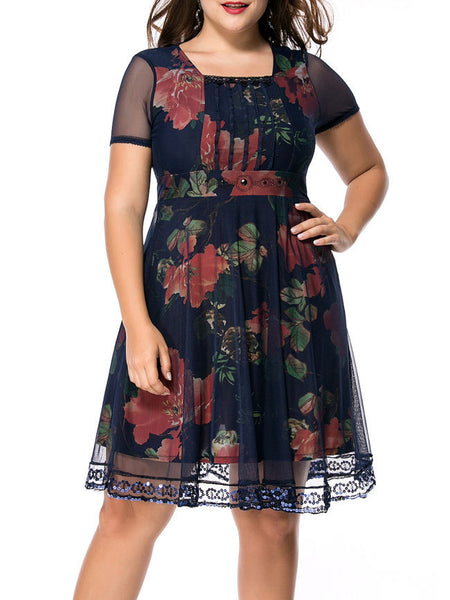 Square Neck Sequin Hollow Out Floral Printed Plus Size Flared Dress - Bychicstyle.com
